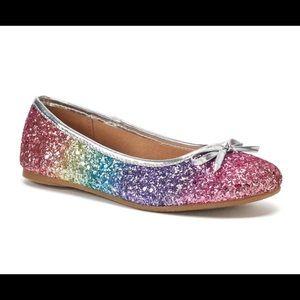 SO Candy Girls Rainbow Sparkle Ballet Flats